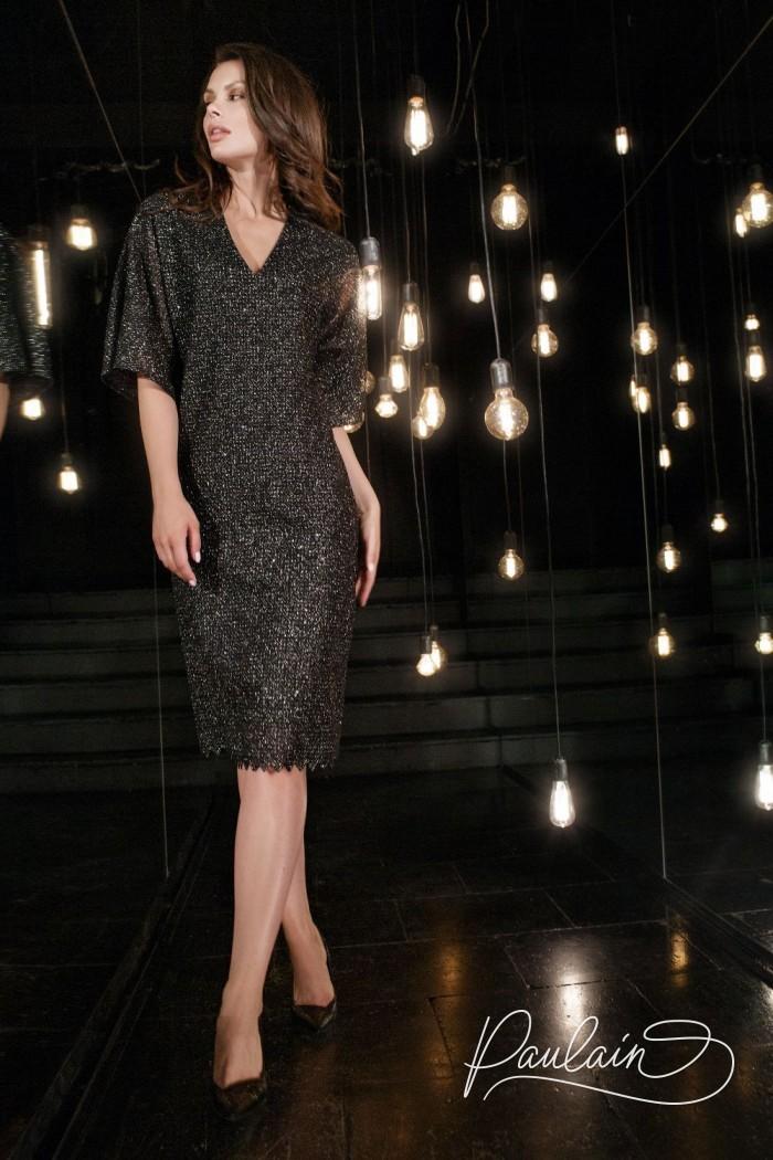 Темное искрящееся коктейльное платье с коротким рукавом - АДОР | Paulain