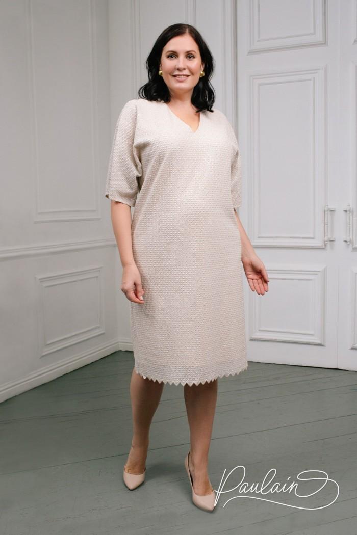 Коктейльное платье кремового цвета с коротким рукавом - АДОР | Paulain