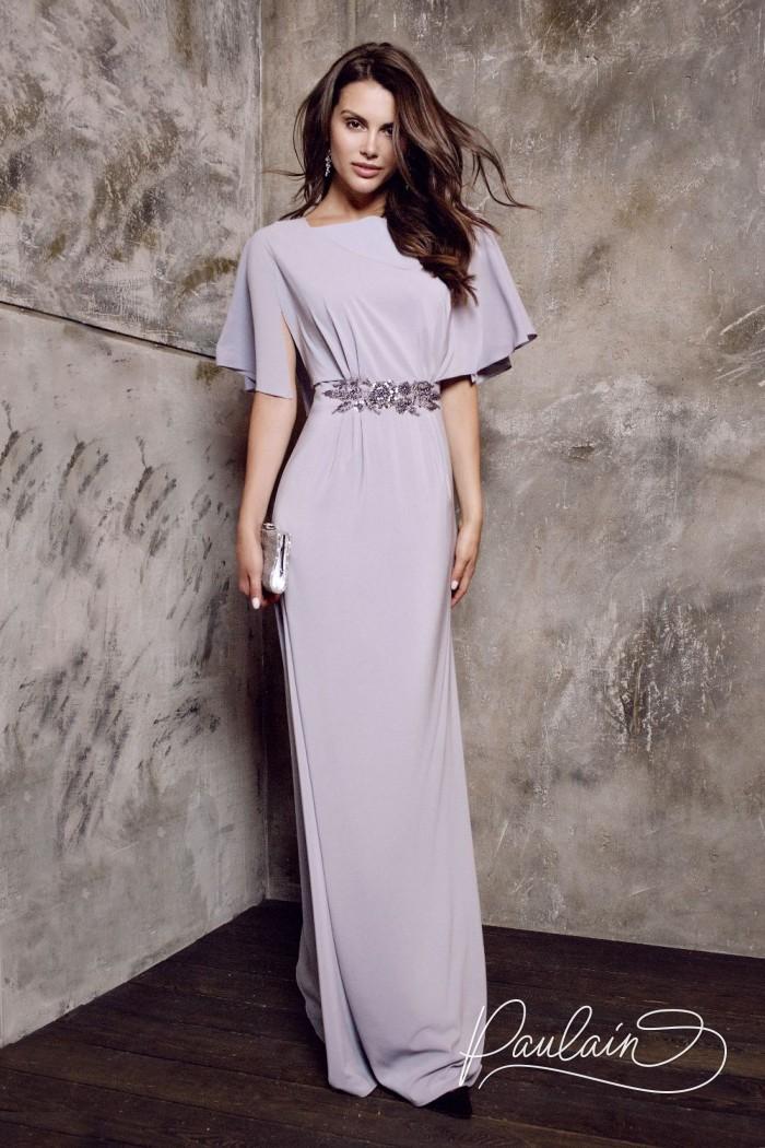 Вечернее платье прямого силуэта из шифона с коротким рукавом - АВИВА | Paulain