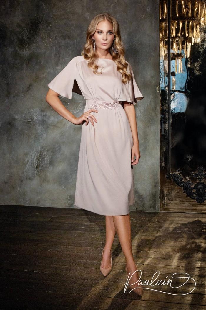 Коктейльное платье миди из крепа каданса с короткими рукавами - АВИВА | Paulain