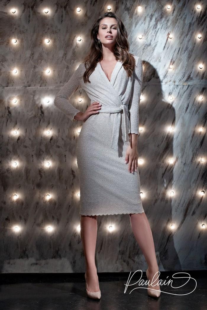 Женское платье длины миди с V-образным вырезом с длинным рукавом - ДАЙКИРИ | Paulain