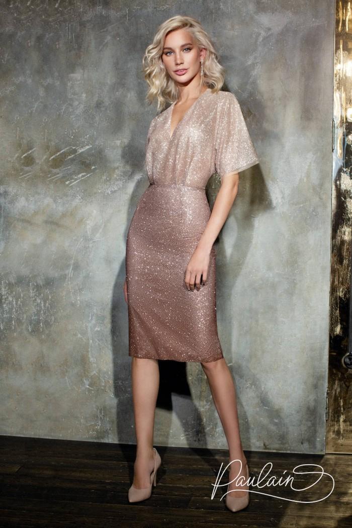 Коктейльное платье из глиттерной ткани с эффектом омбре с коротким рукавом - ДАЙМОНД | Paulain