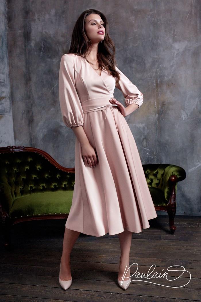 Коктейльное платье миди с рукавами три четверти - ДЖОЙ | Paulain