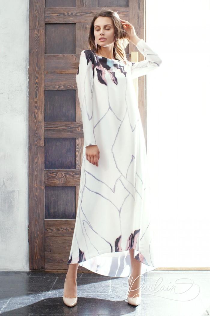 Вечернее платье с акварельным принтом и длинным рукавом - МУНЛАЙТ | Paulain