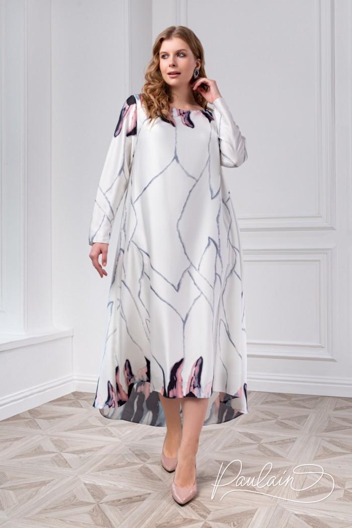 Вечернее платье с акварельным принтом и длинным рукавом - МУНЛАЙТ + | Paulain