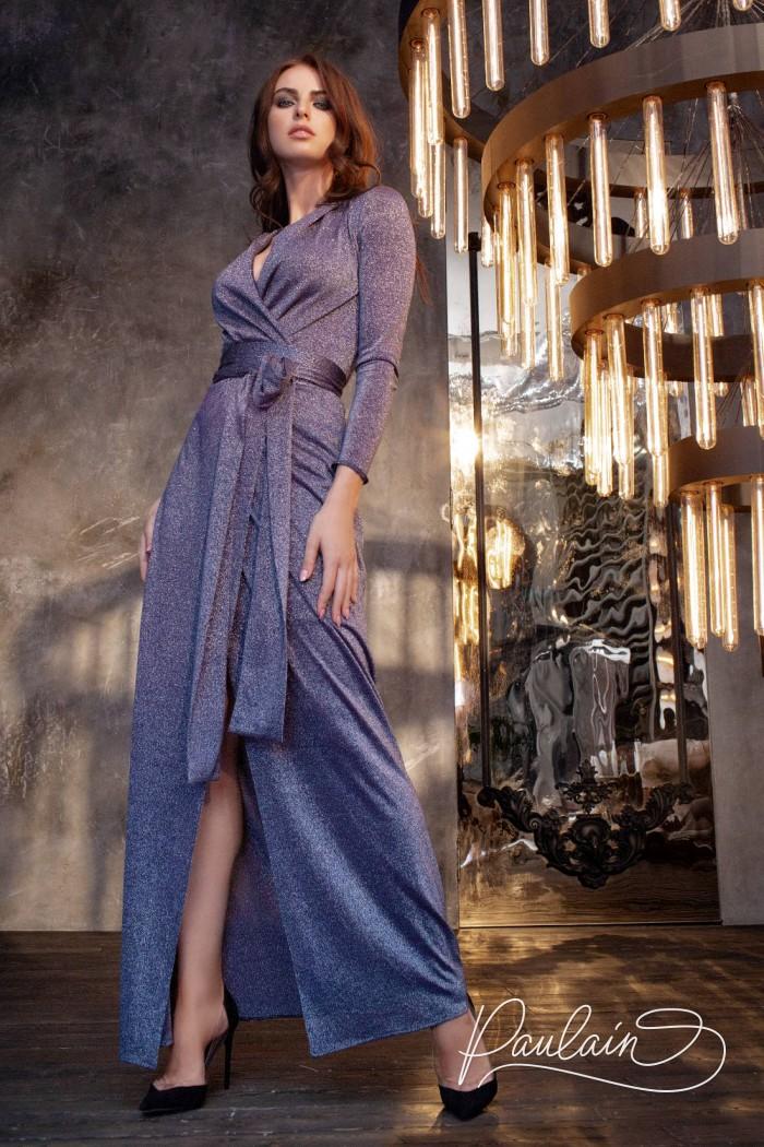 Вечернее платье с длинным рукавом и V-образным декольте - ПРАЙМ | Paulain