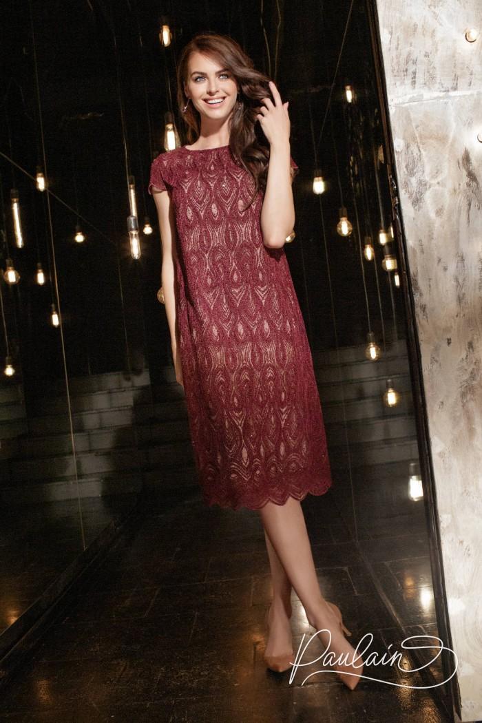Кружевное коктейльное платье миди с коротким рукавом - ШАДОУ | Paulain