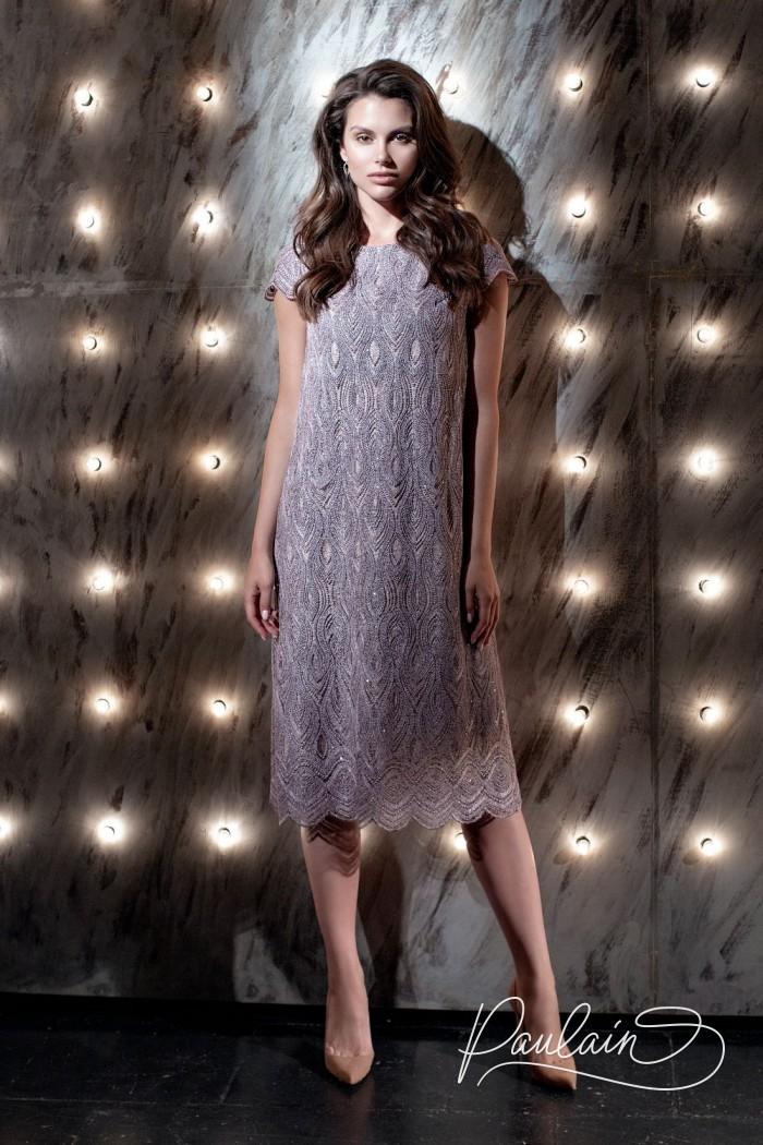 Закрытое коктейльное платье из кружева с коротким рукавом - ШАДОУ   Paulain