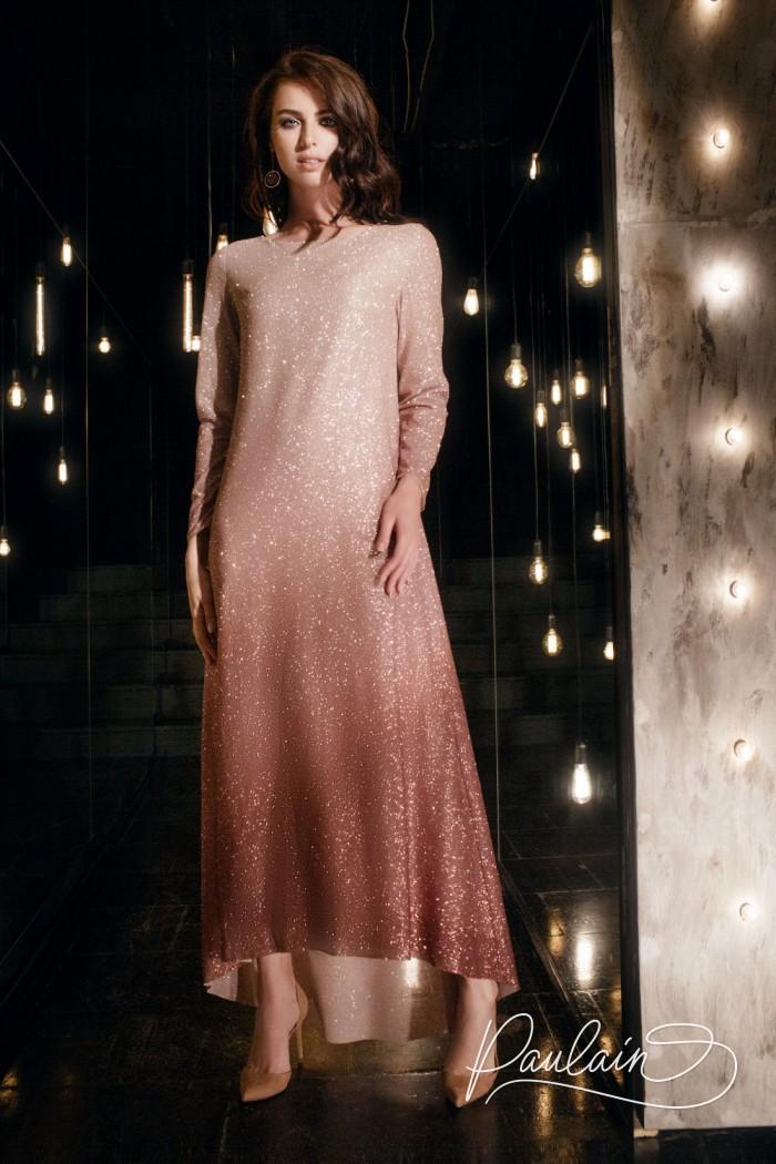 Вечернее платье с эффектом омбре из глиттерной ткани с длинным рукавом - ШАЙНИ   Paulain
