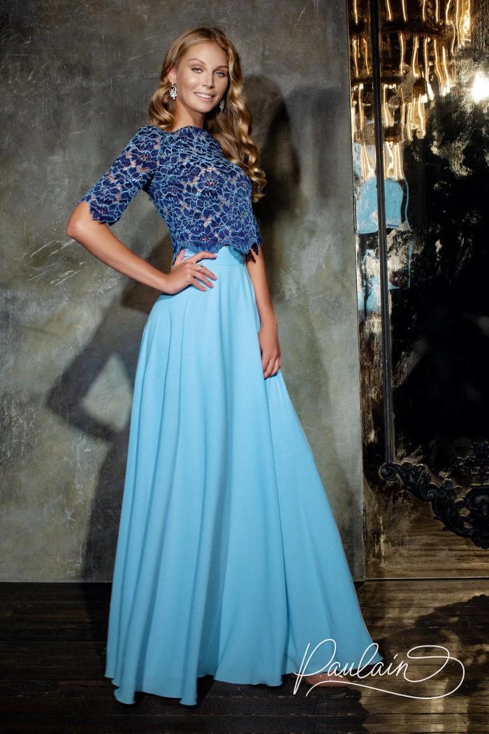 Вечернее платье-комплект из двух частей кружевной топ и длинная юбка - СОЛАР | Paulain