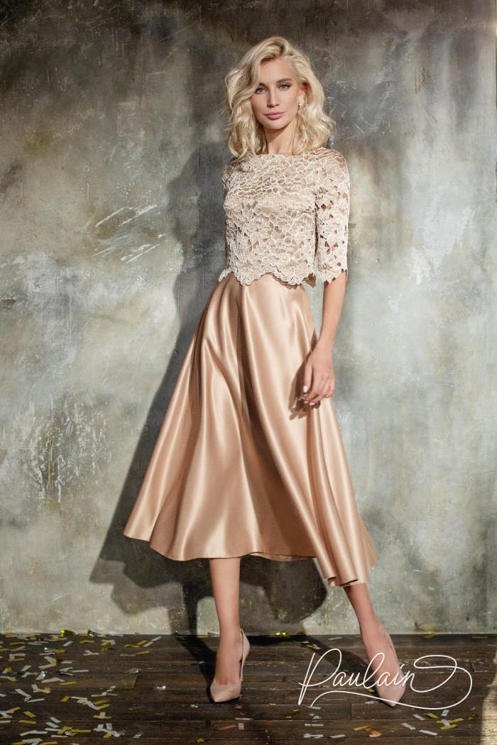 Вечерний наряд из ажурного топа и элегантной юбки длины миди - СОЛАР & КАЙРА | Paulain