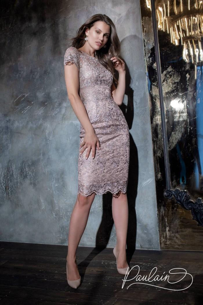 Облегающее силуэтное платье из кружевного полотна с витиеватым цветочным узором - СТЕФАНА | Paulain