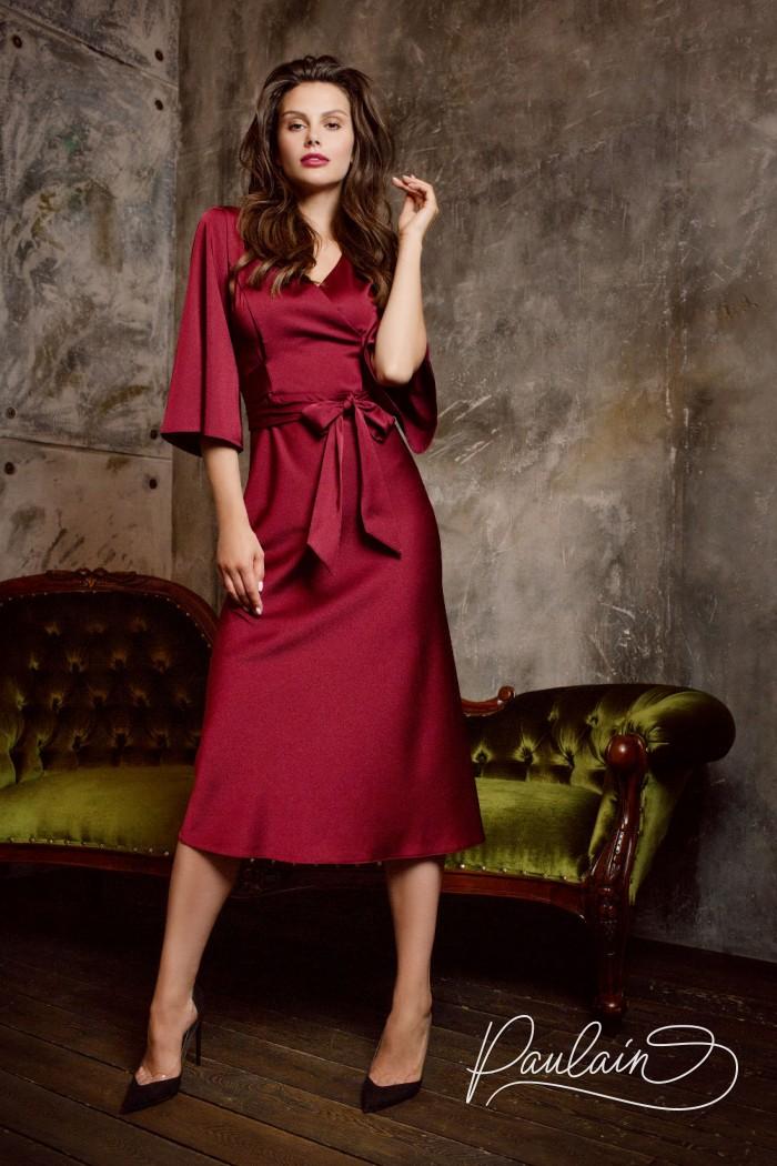 Атласное коктейльное платье с коротким рукавом - ВИВИД | Paulain