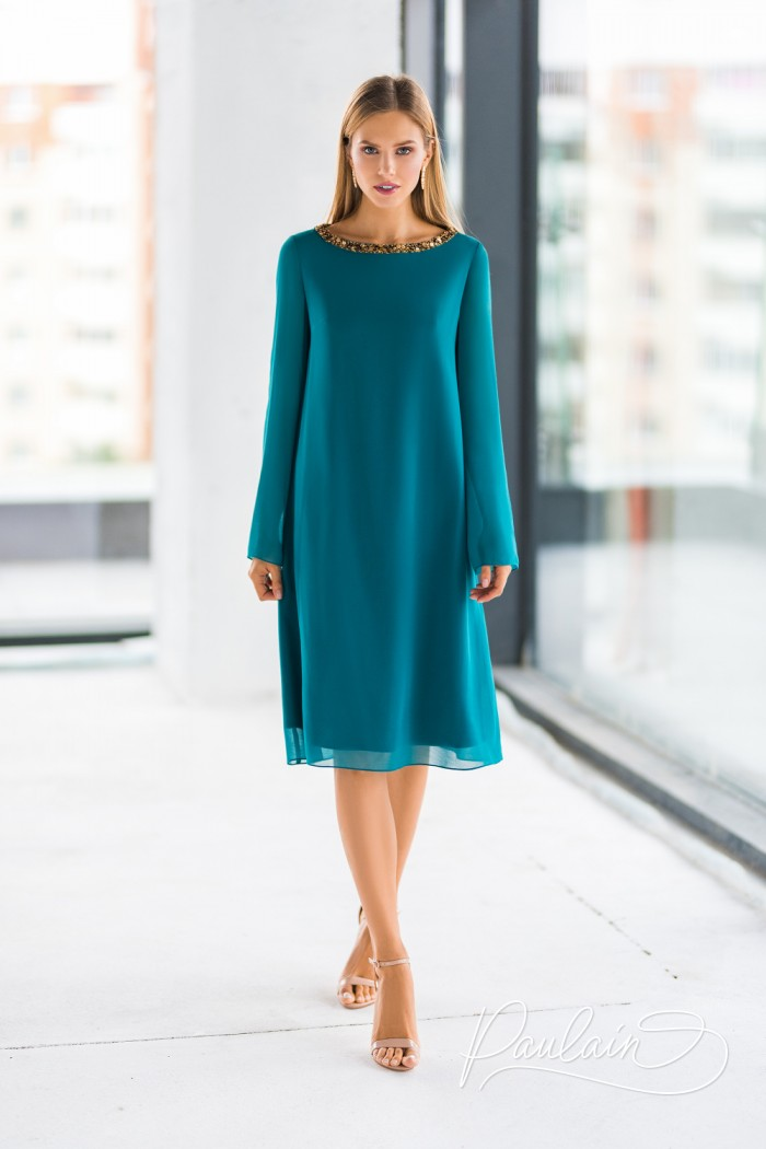 Стильное платье изумрудного цвета с длинными рукавами - АДМИРА LUX   Paulain
