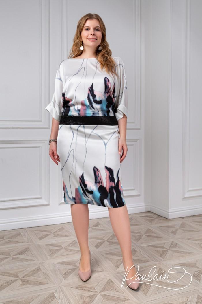 Стильное платье с оригинальной спинкой и акварельным рисунком - КАЛЬДЕРА | Paulain