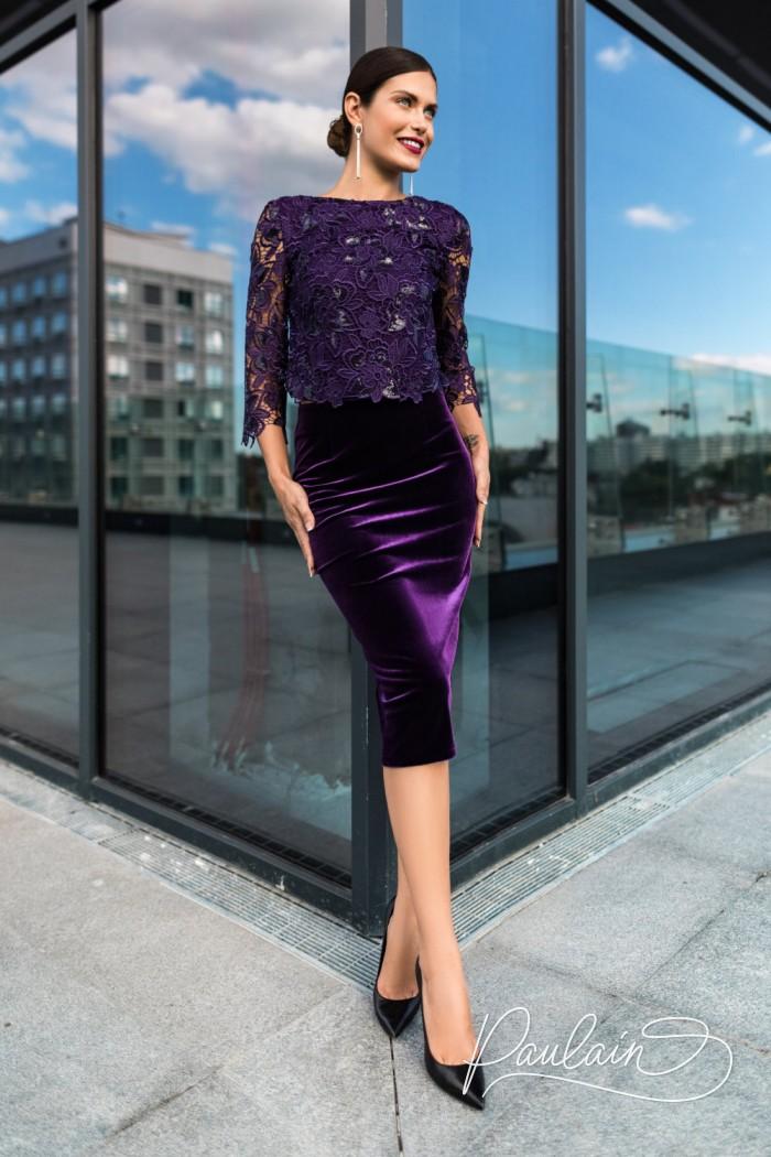 Ажурный топ с рукавом три четверти и бархатная юбка длины миди - ДИТА | Paulain