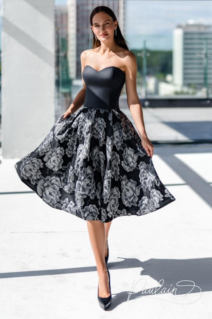 Платье длины миди с открытым корсетом и пышной юбкой с жаккардовым рисунком - ГЕЛИО | Paulain