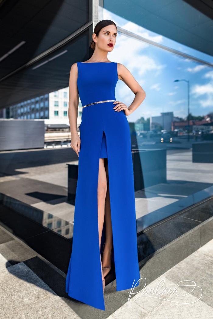 Вечернее платье макси с высоким разрезом - ЛАРСОН | Paulain