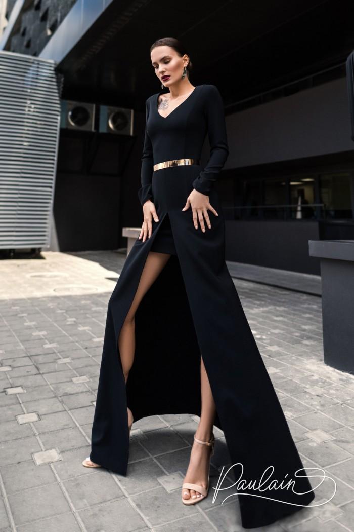 Маленькое черное платье с длинной юбкой - СЕРСЕЯ | Paulain