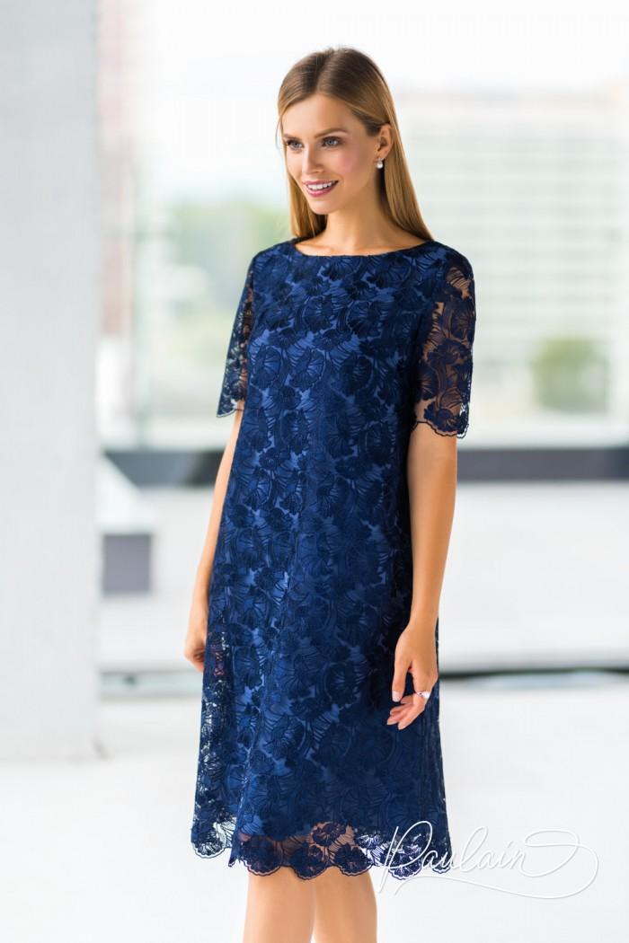 Кружевное двухслойное вечернее платье пронзительно синего цвета - ТРИШ ЭЛС | Paulain