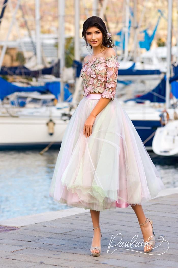 Розовое вечернее платье с воздушной юбкой - ДОМИНИКАНА | Paulain