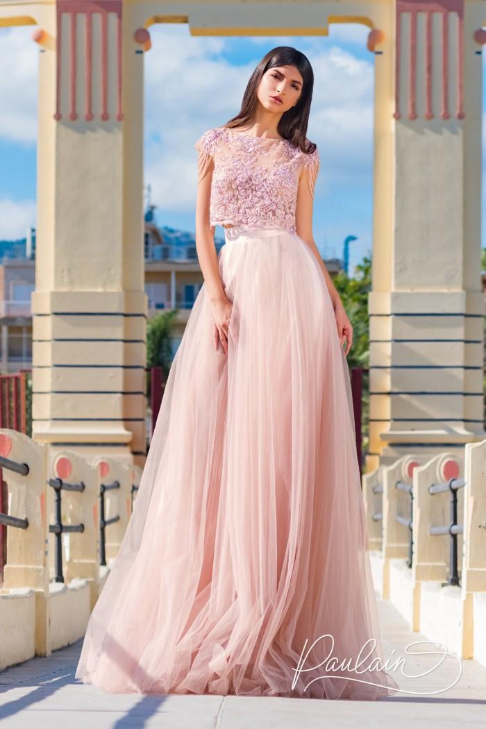 Вечернее платье с воздушной фатиновой юбкой и кружевным топом - ЖЕНЕВА | Paulain