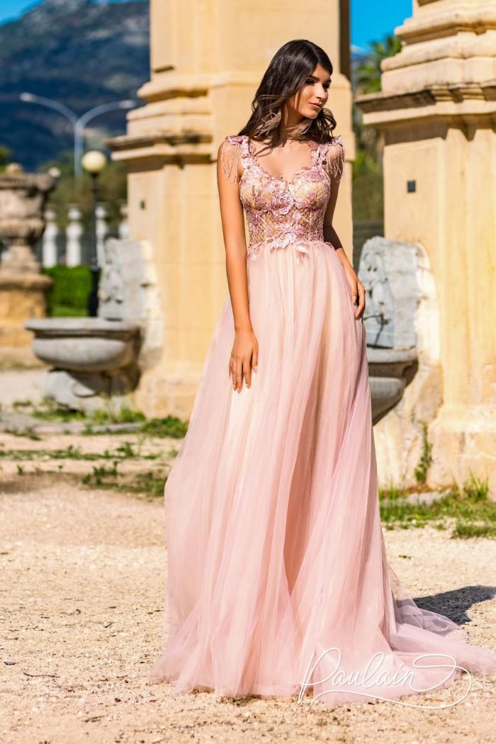 Прелестное платье из пышного фатина и ажурной сетки - ПЕРУ | Paulain
