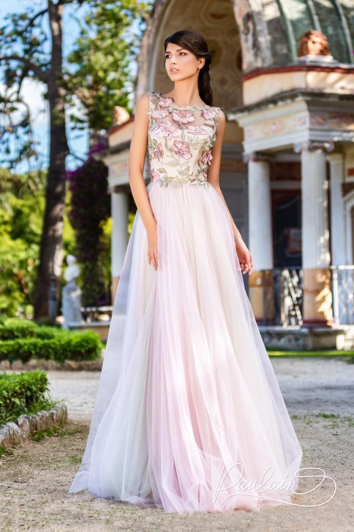 Чувственное вечернее платье с вышитыми объёмными цветами - ВЕРДОН | Paulain