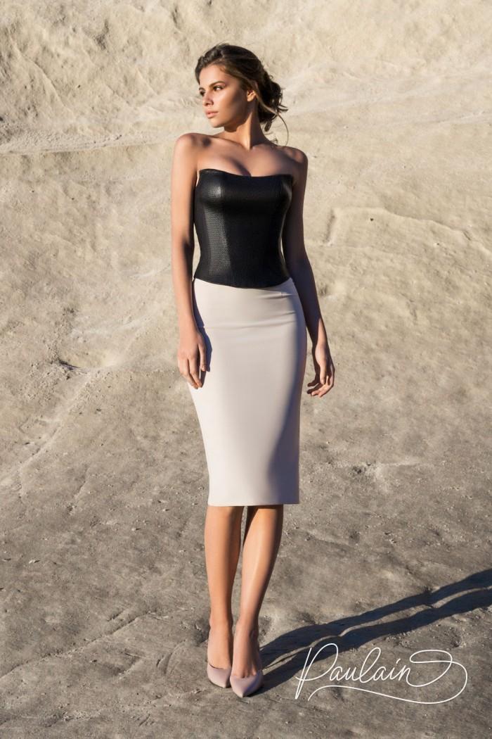 Экстравагантный комплект топа и юбки в монохромной цветовой гамме - АНЬЕЗЕ & АВАДА | Paulain
