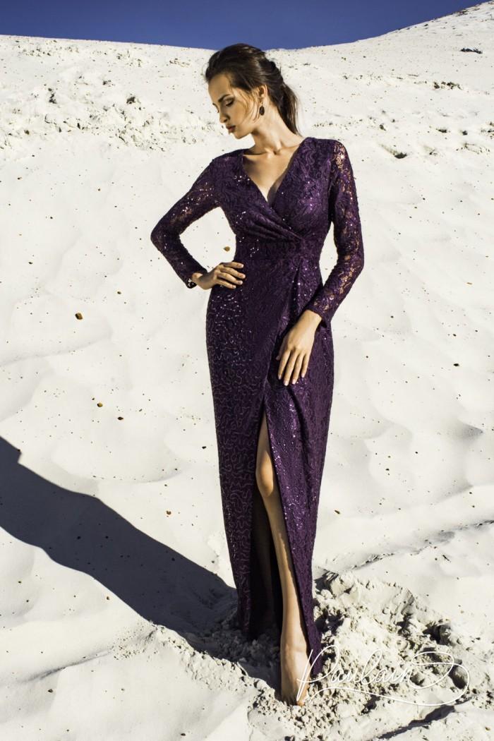Элегантное вечернее платье с головокружительно высоким разрезом - БРУНИ | Paulain