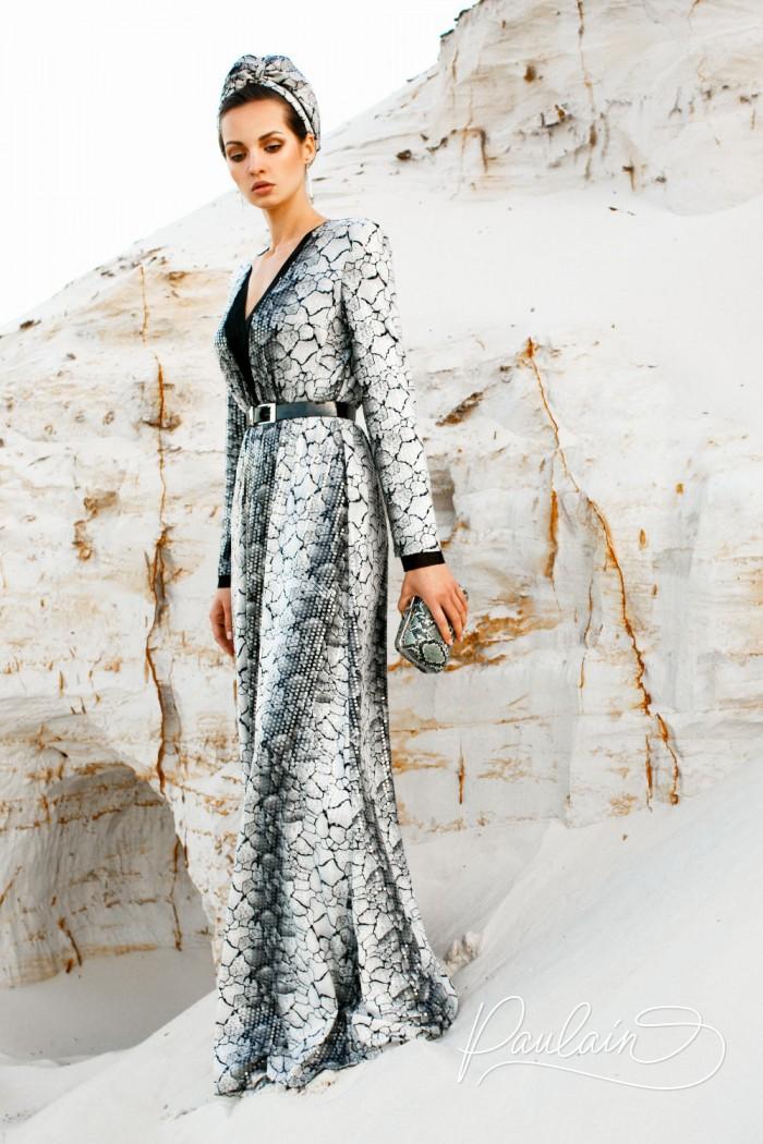 Длинное мраморно-дымчатое вечернее платье с блестками и длинным рукавом - ШАНТАЛЬ | Paulain