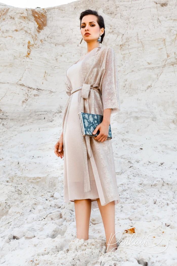 Женственное вечернее платье из перламутрового трикотажа с кардиганом - ХАЙЯ | Paulain