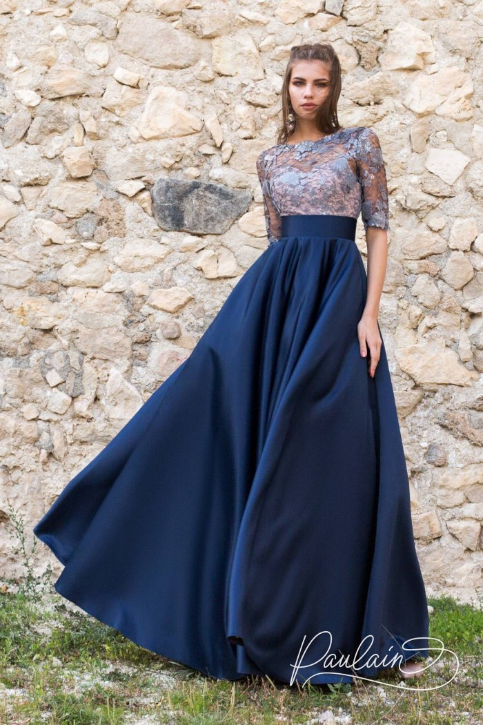 Великолепное платье с синей юбкой и топом из серебристого кружева - В ПОЛНОЧЬ | Paulain