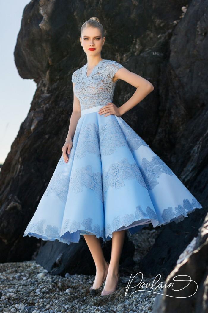 Короткое вечернее платье с кружевным верхом и ошеломительной юбкой - СОКРОВИЩА АТЛАНТИДЫ | Paulain
