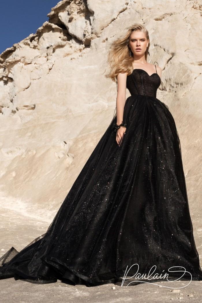 Черное с блеском вечернее платье с пышной длинной юбкой - ЧЕРНАЯ КОРОЛЕВА | Paulain