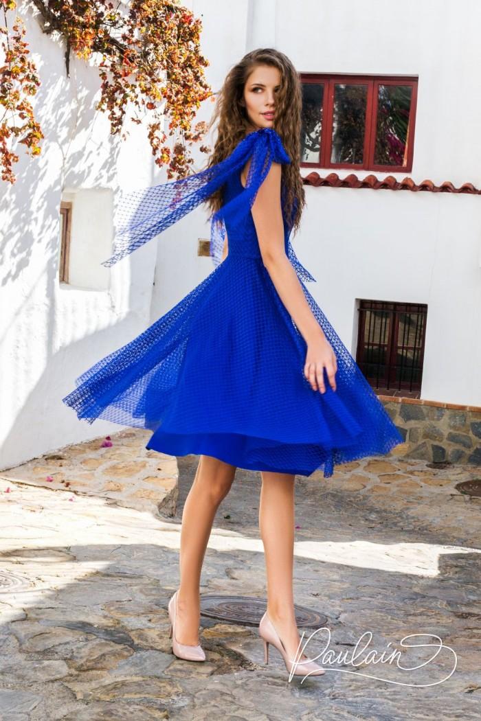 Ярко-синее вечернее платье с короткой пышной юбкой - СИНЯЯ ПТИЦА | Paulain