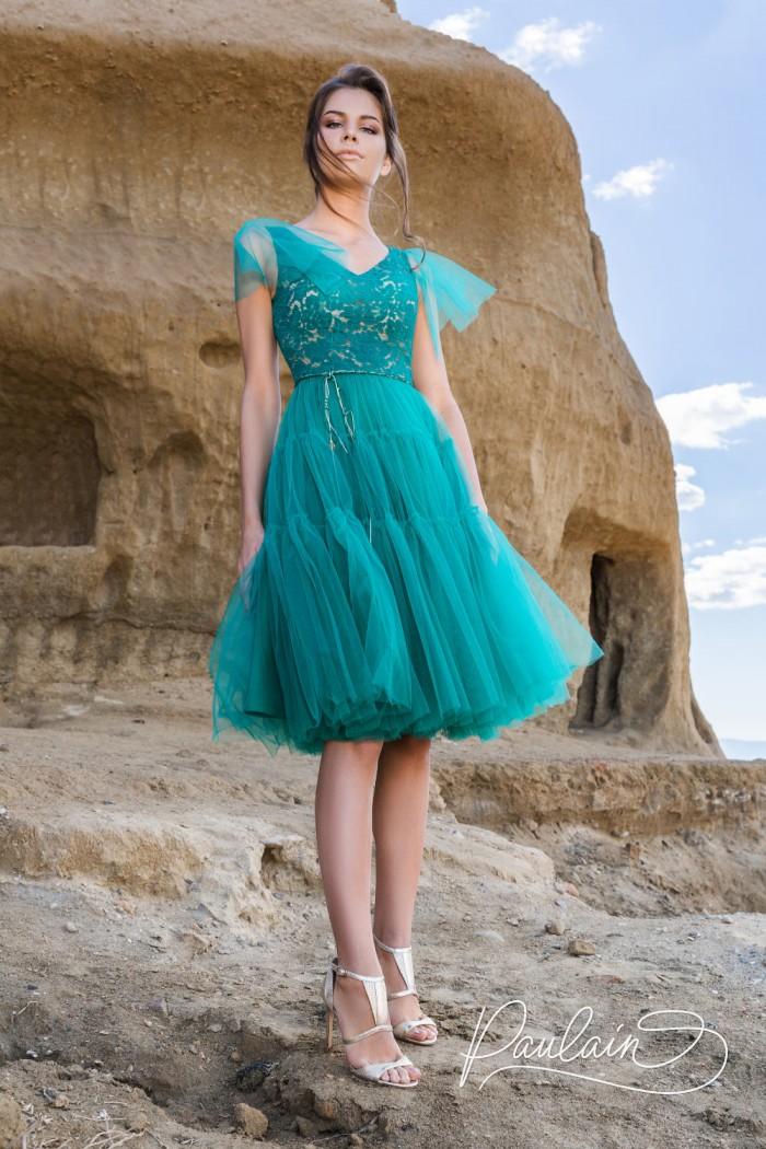 Платье с кружевным лифом и пышной юбкой длины миди - ДЕТИ СОЛНЦА | Paulain
