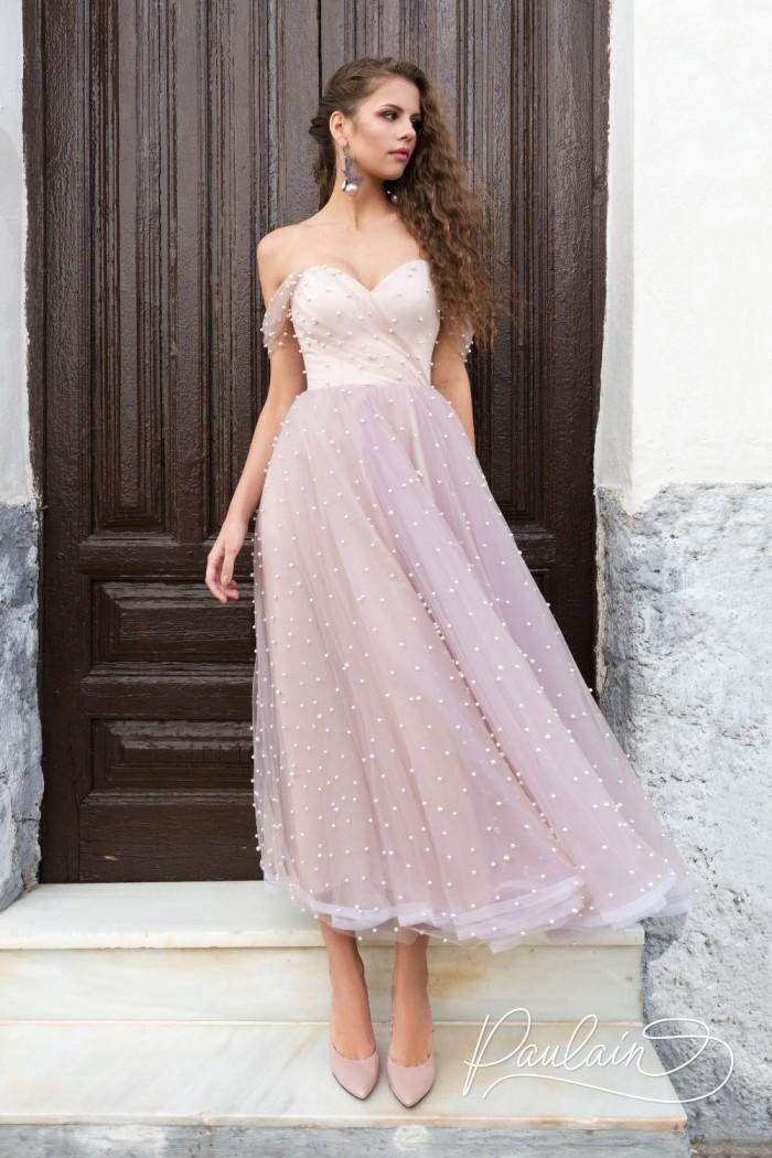 Вечернее платье очень нежного цвета расшитое жемчужинами - ВОЗДУШНЫЕ ЗАМКИ | Paulain