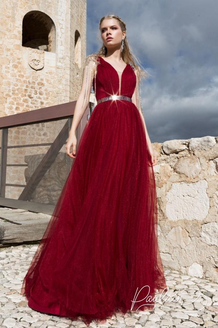 Торжественное вечернее платье с открытой спиной и глубоким декольте - ПОЦЕЛУЙ ЭДВАРДА | Paulain