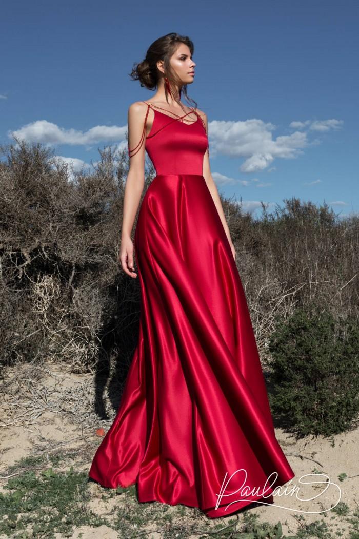 Шелковое вечернее платье изысканного оттенка граната - ГРАНАТОВЫЙ БРАСЛЕТ   Paulain