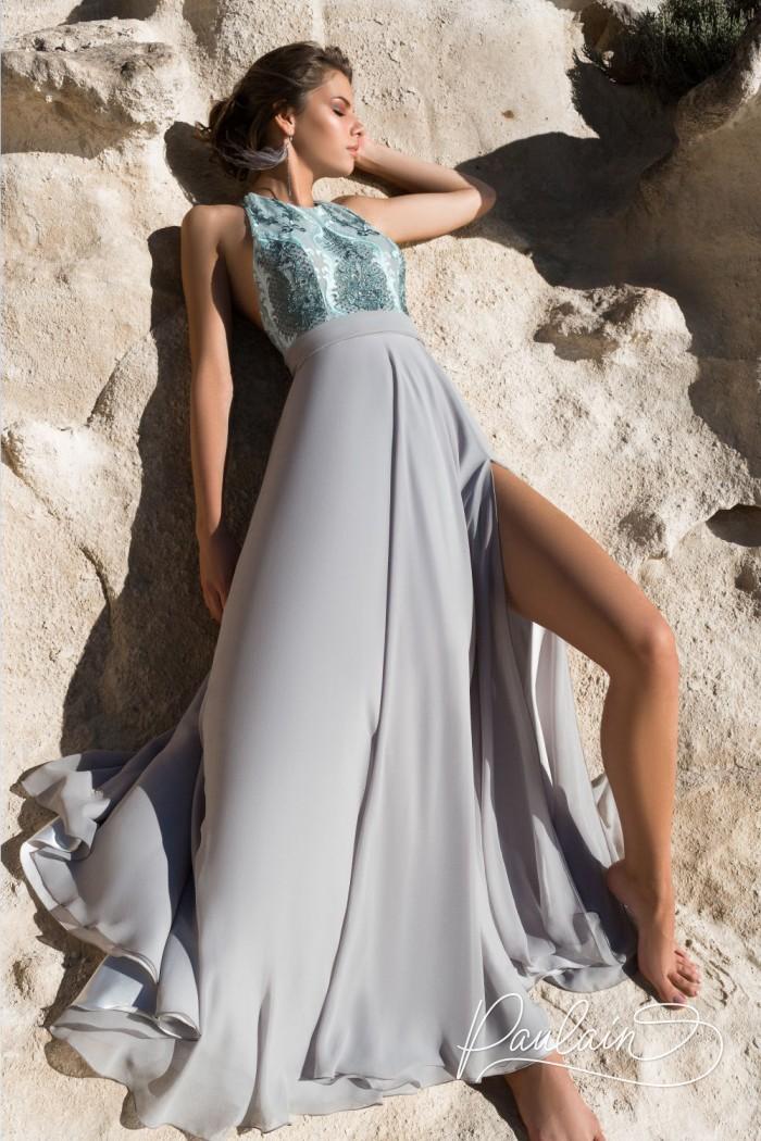 Эффектное вечернее платье с высоким разрезом и открытой спиной - УНЕСЕННЫЕ ВЕТРОМ | Paulain