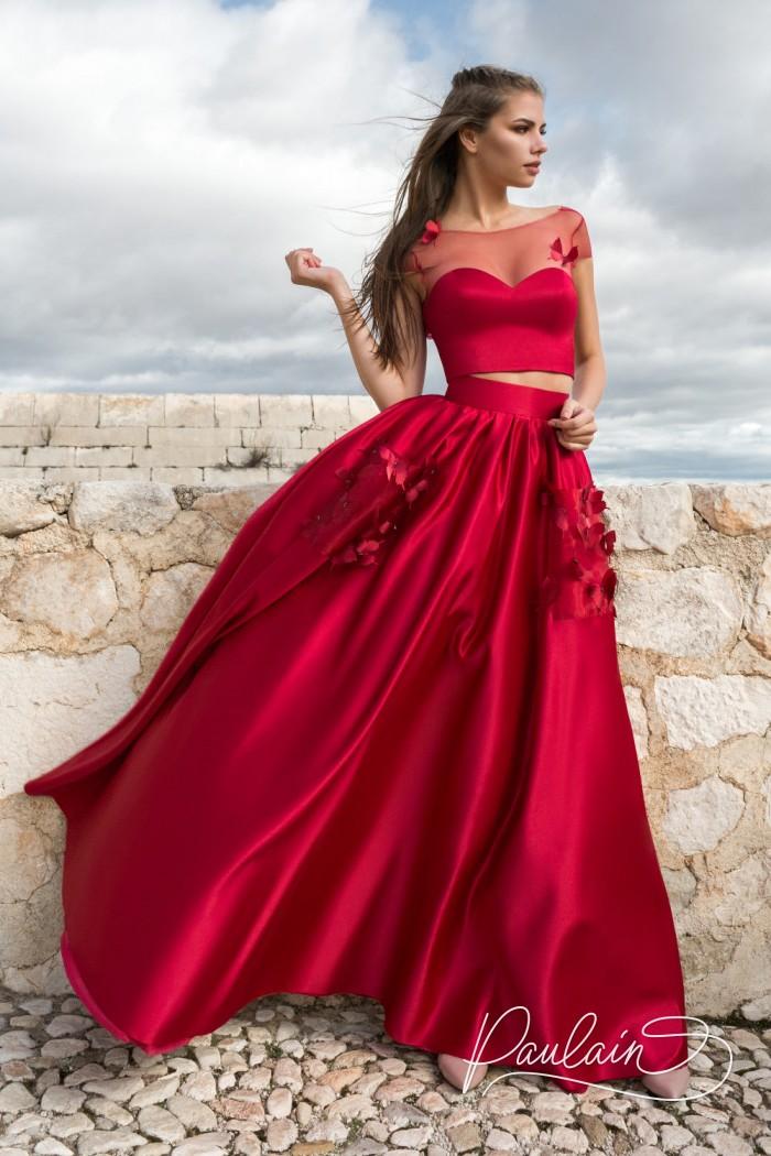 Вечернее платье красного цвета из короткого топа и длинной юбки - ШЕПОТ СЕРДЦА | Paulain
