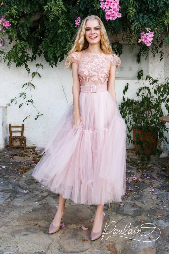 Вечернее платье нежного цвета с пышной юбкой длины миди - ПРОСТО ДРУЗЬЯ | Paulain