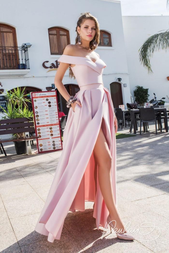 Вечернее платье на выпускной в комплекте топ и юбка с разрезом - МАЛЫШКА НА МИЛЛИОН | Paulain