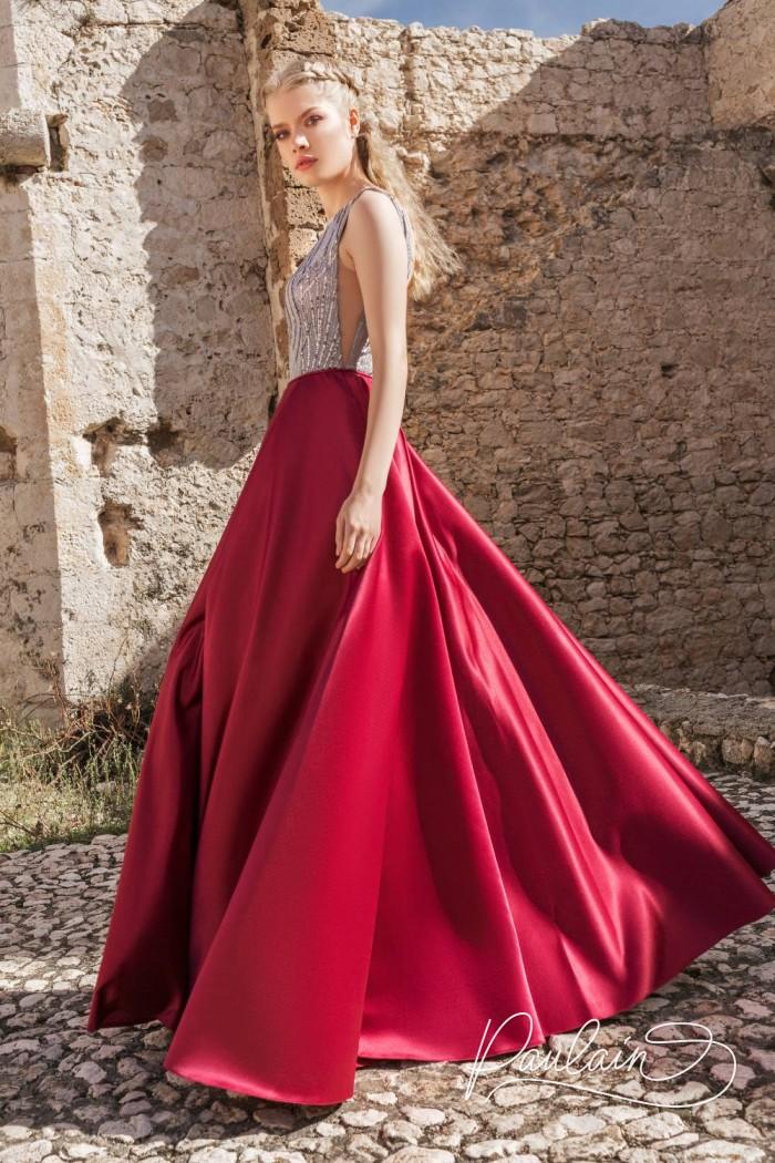 Красивое вечернее платье с открытой спиной и эффектной юбкой - ТАИНСТВЕННЫЙ ОСТРОВ | Paulain