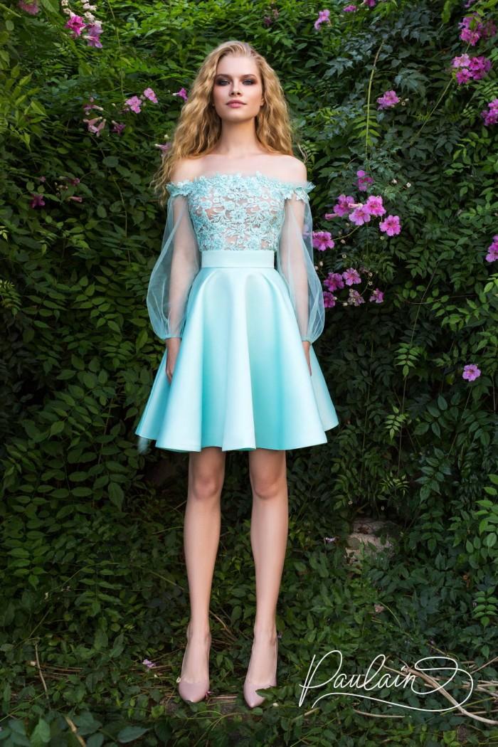 Силуэтное вечернее платье редкого бирюзового оттенка - ВЛЮБЛЕННАЯ НИМФА | Paulain