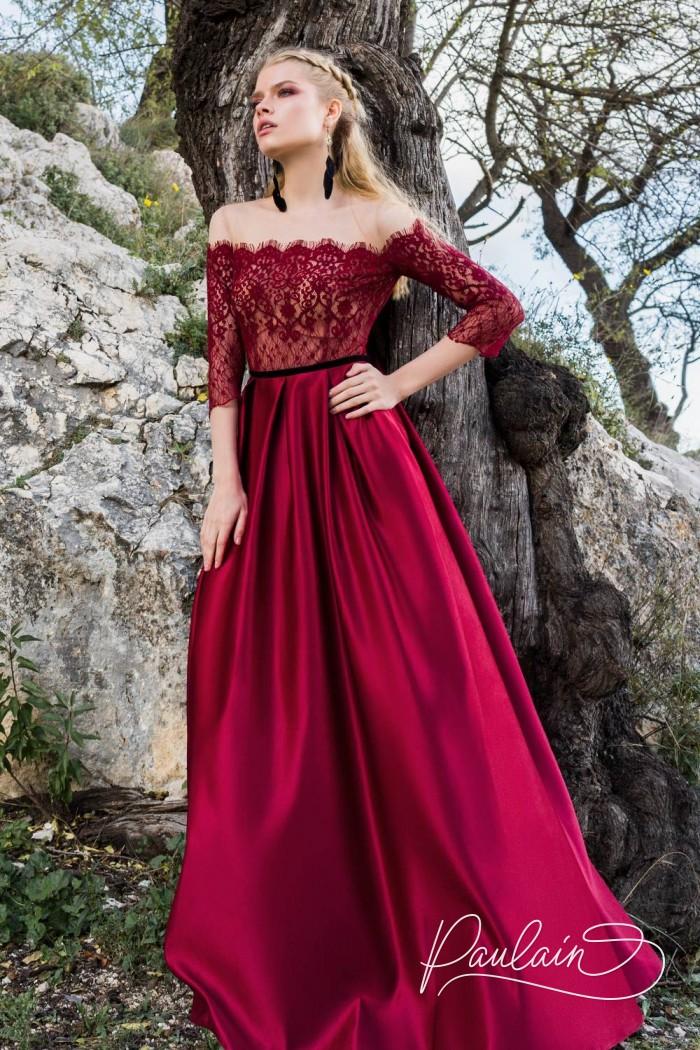 Длинное вечернее платье с рукавом, открытыми плечами и атласной юбкой - ПОХИТИТЕЛЬ РОЗ | Paulain