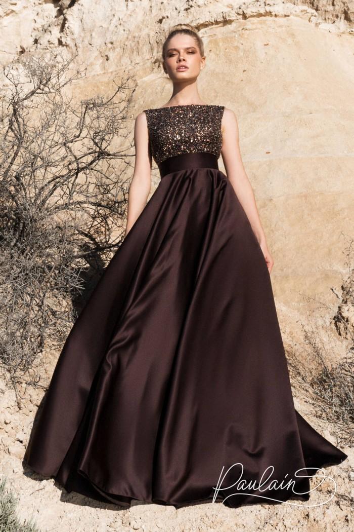 Вечернее платье с широкой юбкой и эффектно открытой спиной - ПЕСКИ ВРЕМЕНИ | Paulain