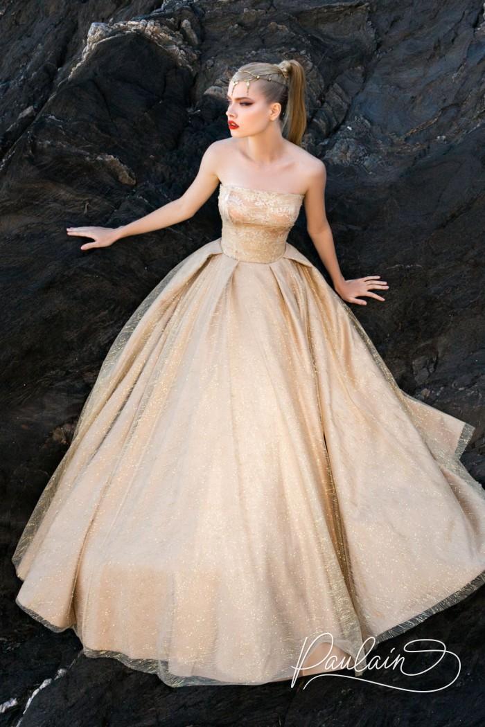 Невероятно красивое вечернее платье с открытыми плечами - ЗВЕЗДНАЯ ПЫЛЬ | Paulain