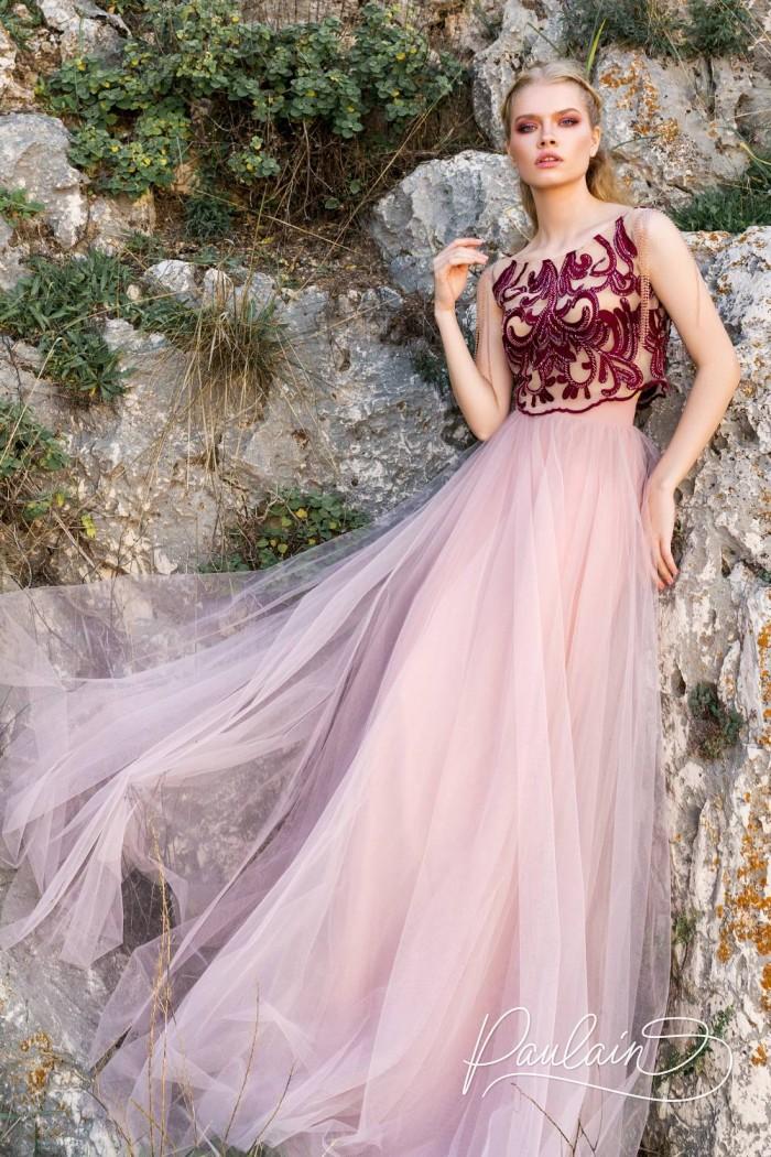 Длинное вечернее платье из кроп-топа и фатиновой юбки - ТАНГО ВДВОЕМ | Paulain
